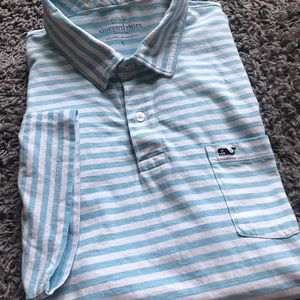 Vineyard vines striped blue whale logo polo shirt